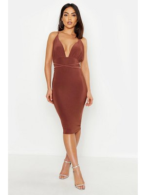 Boohoo Plunge Cross Back Midi Dress