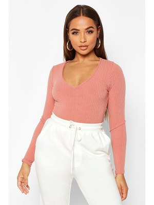 Boohoo Plunge Front Rib Knit one piece