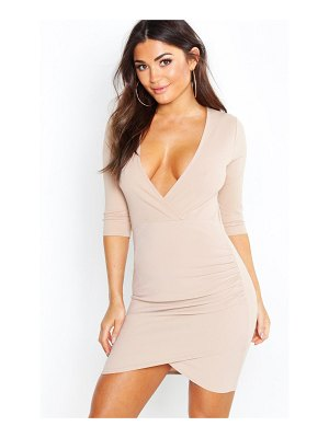 Boohoo Plunge Front Wrap Bodycon Dress