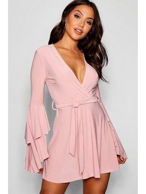 Boohoo Plunge Neck Flared Sleeve Skater Dress