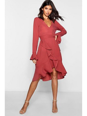 Boohoo Plunge Neck Frill Detail Midi Dress
