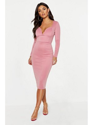Boohoo Plunge Neck Midi Dress