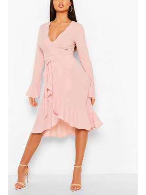 Boohoo Plunge Neck Trim Detail Midi Dress
