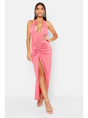 Boohoo Plunge Rouche Front Split Front Maxi Dress