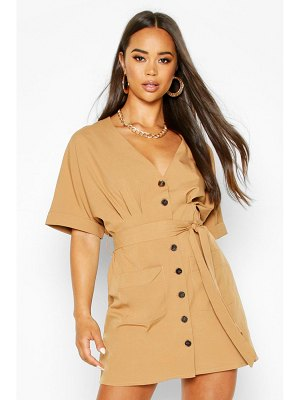 Boohoo Pocket Button Mini Dress