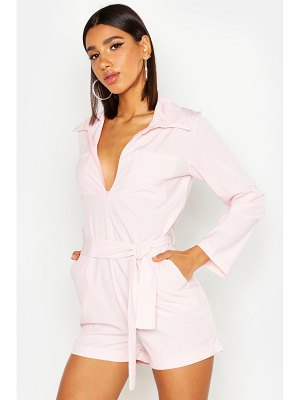 Boohoo Pocket Detail Belted Romper