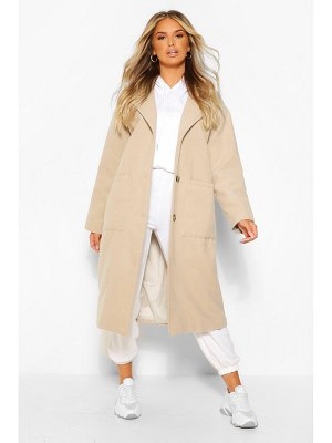 Boohoo Pocket Detail Longline Wool Look Coat