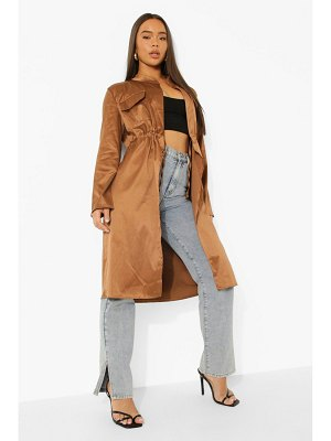Boohoo Pocket Detail Ruched Waist Duster