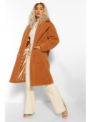 Boohoo Pocket Detail Teddy Faux Fur Coat
