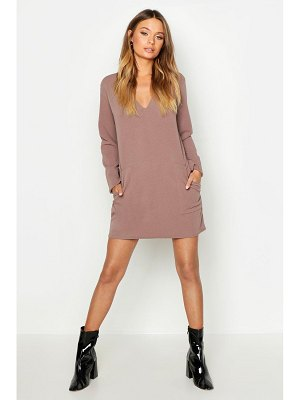 Boohoo Pocket Detail V-Neck Mini Dress