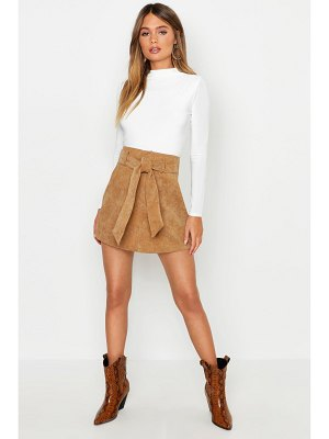 Boohoo Pocket Front Tie Waist Cord A Line Mini Skirt