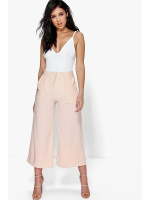 Boohoo Pocket Front Wide Leg Cropped Woven Trousers
