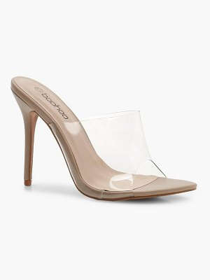 Boohoo Pointed Toe Clear Mule Heels