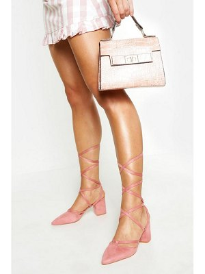 Boohoo Pointed Toe Wrap Up Low Block Heels
