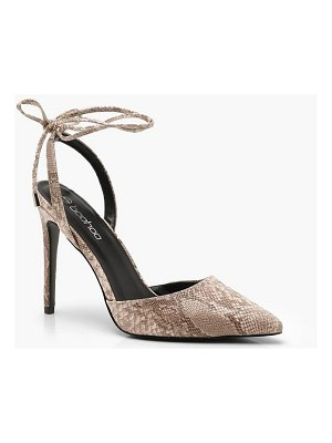 Boohoo Pointed Wrap Strap Snake Court Shoes