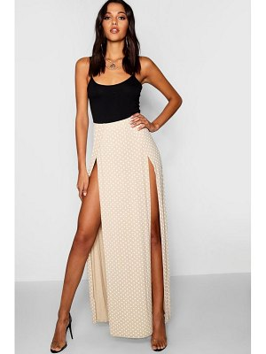 Boohoo Polka Dot Print Thigh Split Maxi Skirt