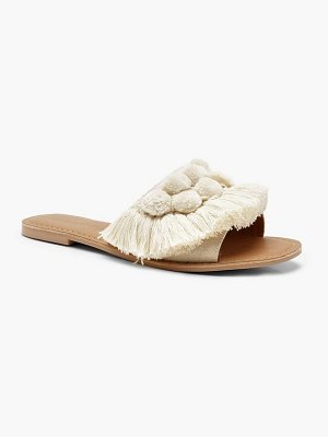 Boohoo Pom Pom Frill Leather Sliders