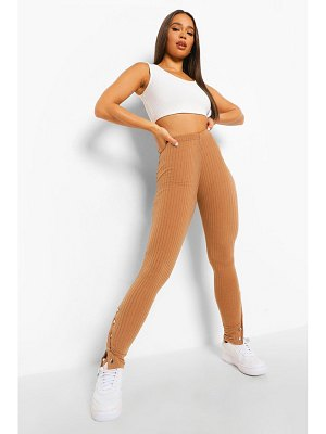 Boohoo Popper Hem Ribbed Leggings