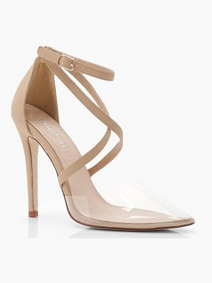 Boohoo Cross Strap Pointed Clear Heels