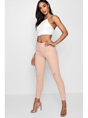 Boohoo Poppy High Waisted Destroyed Hem Skinny Jeans