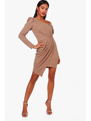 Boohoo Power Shoulder Drape Wrap Dress