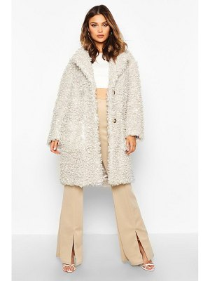 Boohoo Premium Curly Faux Fur Longline Coat