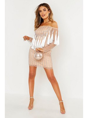 Boohoo Premium Embellished Off The Shoulder Fringe Dress