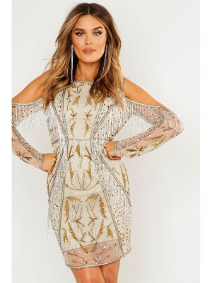 Boohoo Premium Embellished Open Back Fringe Mini Dress
