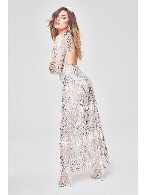Boohoo Premium Hand Embellished Cut Out Back Maxi Dress