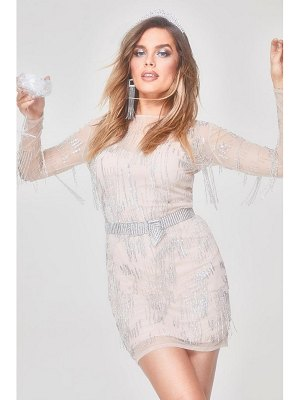 Boohoo Premium Hand Embellished Fringe Trim Mini Dress