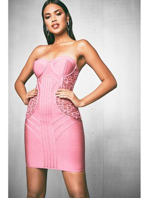 Boohoo Premium Bandage & Lace Bodycon Dress