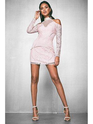 BOOHOO Premium Nadine Corded Lace Cold Shoulder Dress