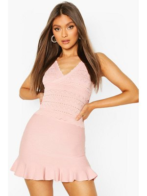 Boohoo Premium Pointelle Ruffle Knit Skirt Set