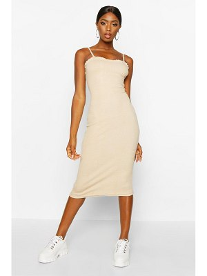 Boohoo Premium Rib Strappy Lettuce Edge Bodycon Midi Dress