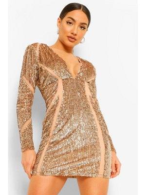 Boohoo Premium Sequin And Mesh Bodycon Dress