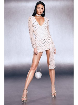 Boohoo Premium Sequin Wrap Front Tie Mini Dress