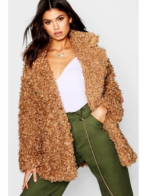 Boohoo Premium Teddy Faux Fur Collared Coat