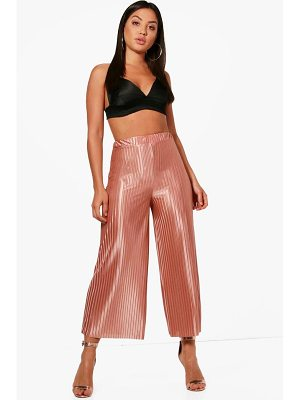 BOOHOO Priya Pleated Luxe Wide Leg Culottes