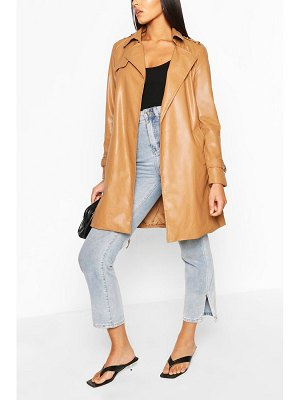 Boohoo Pu Belted Trench Coat