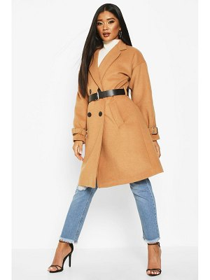 Boohoo Pu Belted Trench Wool Look Coat