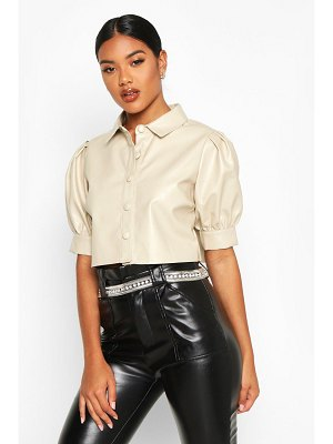 Boohoo Pu Button Front Volume Sleeve Cropped Blouse