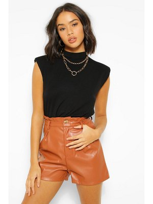 Boohoo Pu Faux Leather Paperbag Single Button Shorts