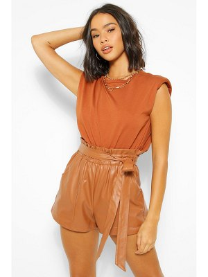 Boohoo Pu Faux Leather Pocket Belted Paperbag Shorts