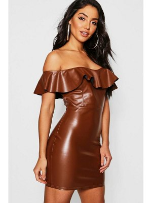 Boohoo PU Off The Shoulder Mini Ruffle Bodycon Dress