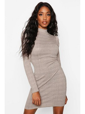 Boohoo Puff Shoulder High Neck Rib Bodycon Dress