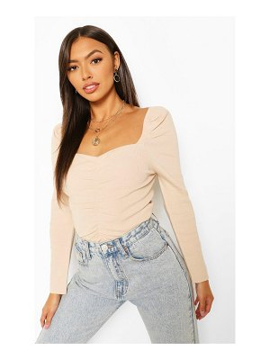 Boohoo Puff Shoulder Ruched Front Sweater
