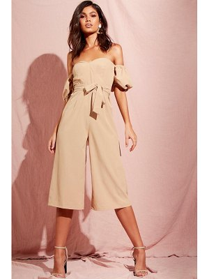 Boohoo Puff Sleeve Belted Culotte Jumpsuit