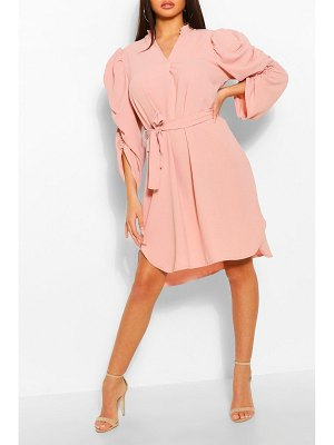 Boohoo Puff Sleeve Belted Shift Dress
