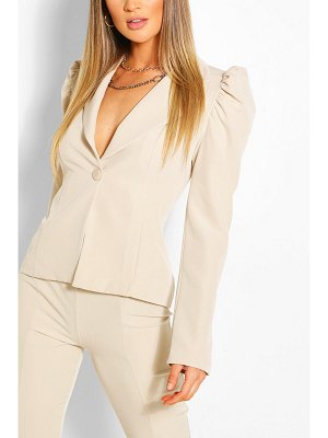 Boohoo Puff Sleeve Button Blazer