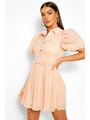 Boohoo Puff Sleeve Button Down Skater Dress